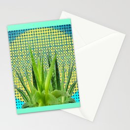 MODERN ALOE VERA SUCCULENT OPTICAL ART Stationery Cards