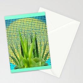 MODERN ALOE VERA SUCCULENT OPTICAL ART Stationery Cards