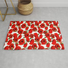 Red Poppy Pattern Rug