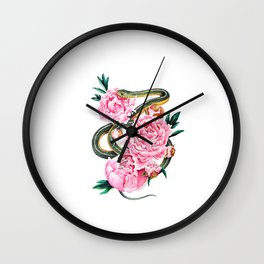 Garter Snake and Peonies Wall Clock
