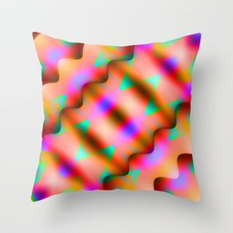 Bright pattern of blurry red and flowers in a light blue kaleidoscope. Throw Pillow