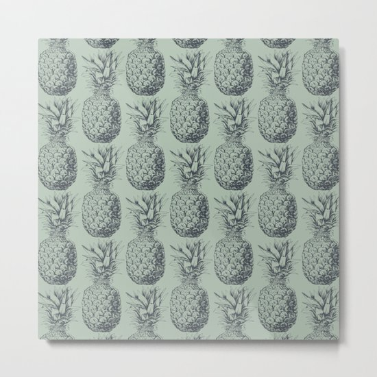 Pineapple, tropical fruit pattern design Metal Print