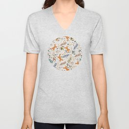 Autumn Woodsy Floral Forest Pattern With Foxes And Birds Unisex V-Neck