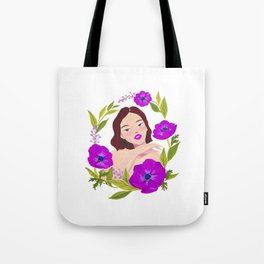 Girl and Anemone Tote Bag