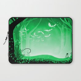 Dark Forest at Dawn in Emerald Laptop Sleeve