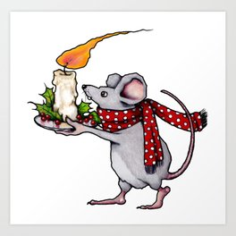 Christmas Mouse Carrying Burning Candle, Illustration Art Print