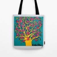 keith haring Tote Bags featuring Keith Haring: The Tree of Monkeys by cvrcak