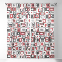 Mid Century Modern Squares and Rectangles // Red, Gray Black, White Sheer Curtain