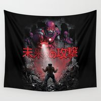 attack on titan Wall Tapestries featuring Attack On The Future by Six Eyed Monster