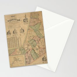 Henry F Walling - Map of the Town of Wrentham, Norfolk County, Massachusetts (1851) Stationery Cards
