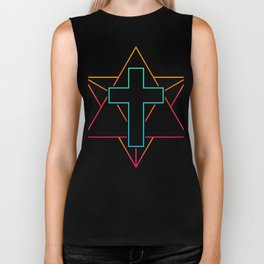 Sacred Geometry Cross | EDM Rave Design Biker Tank