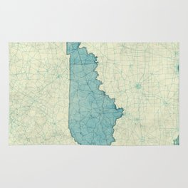 Kentucky State Map Blue Vintage Rug
