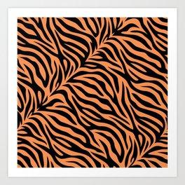 Modern tiger skin stripe illustration - orange and black Art Print