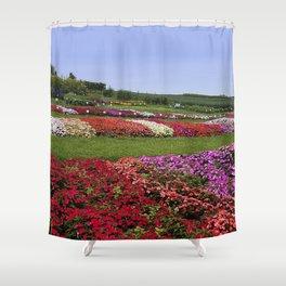 Floral patchwork under a blue sky Shower Curtain