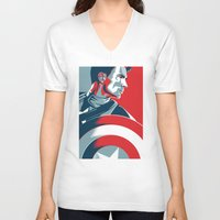 avenger V-neck T-shirts featuring The First Avenger by Olivia Desianti