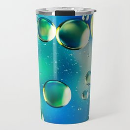 Macro Water Droplets  Aquamarine Soft Green Citron Lemon Yellow and Blue jewel tones Travel Mug