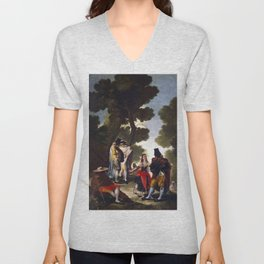 """Francisco Goya """"The Maja and the Cloaked Men or A Walk through Andalusia"""" Unisex V-Neck"""