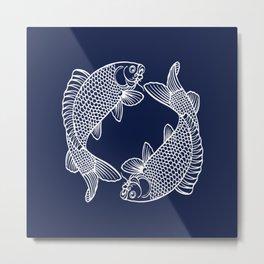 Indigo Navy Blue Koi Metal Print