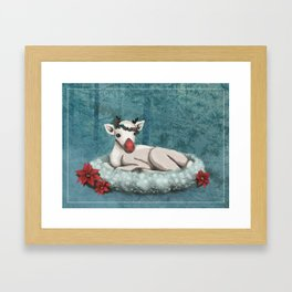 Baby Rudolph wishes you Happy Holidays Framed Art Print