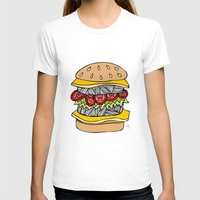 burger T-shirts featuring Burger by Amber Lily Fryer