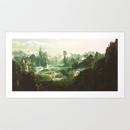 Peaceful landscape - Wonderland - fairy kingdom illustration nature beauty photos. Art Print