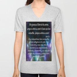 Estrellas en galaxia - Salmo 136, 2-3 Unisex V-Neck