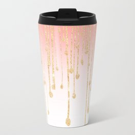 Color block coral faux gold glitter waterdrops ombre Travel Mug