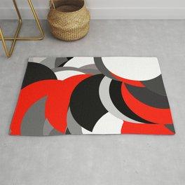 black white grey red geometric digital art Rug