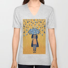Rainy day girl Unisex V-Neck
