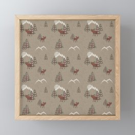 Moose and Mountains Pattern Framed Mini Art Print