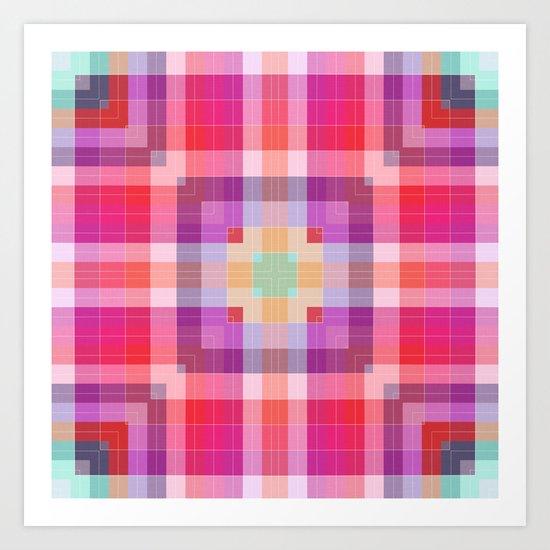 Bright Pink Geometric Art Print