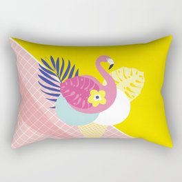 Pink Flamingo Summer Ice cream scoops #summervibes Rectangular Pillow