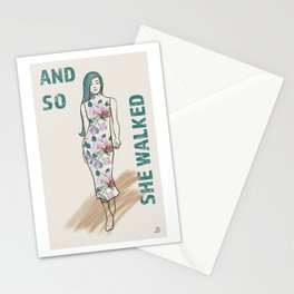 And So She Walked - Girl Power Attitude Stationery Cards