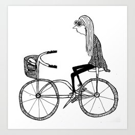 The girl who bikes with no hands Art Print