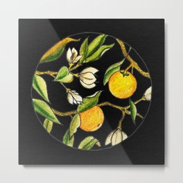 Orange Tree Circular Illustration Design On Textured Black Background Metal Print