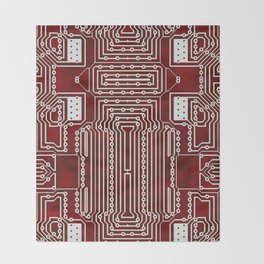 Red Geek Motherboard Circuit Pattern Throw Blanket