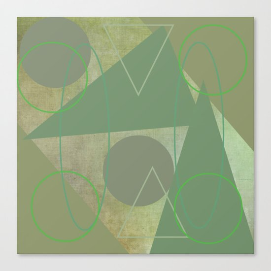 Subdued Green Geometric Abstract Canvas Print