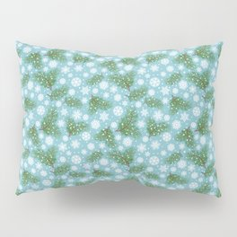 Elegance Xmas Pattern on Turquoise Pillow Sham