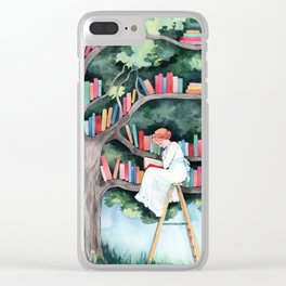 The Reader and the Tree Library Clear iPhone Case