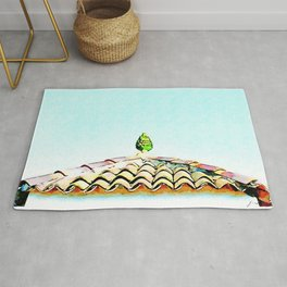 View roof with ceramic pine cone Rug