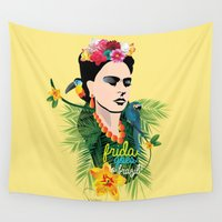 brazil Wall Tapestries featuring Frida goes to Brazil! by ShivaR