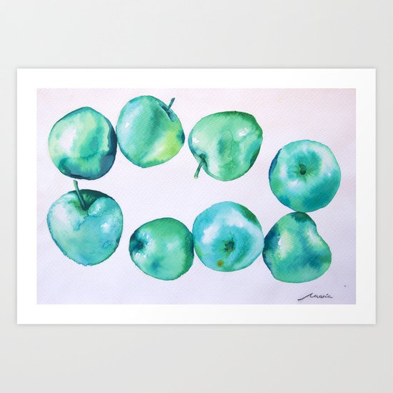 blue apples Art Print