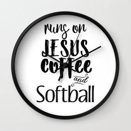 Runs on Jesus Coffee & Softball Gift Wall Clock