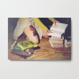 Bookish: Film Photograph Woman Sitting on Floor with a Pile of Books Feminine Bibliophile Wall Art Metal Print