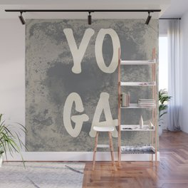 Yoga word with a grunge gray background Wall Mural