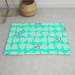 Anchors Away in Turquoise and Navy Graphic Art Design Rug
