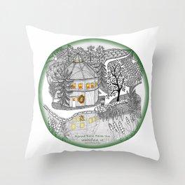 Round Barn Inn, Waitsfield, Vermont near Sugarbush- Zentangle illustration Throw Pillow
