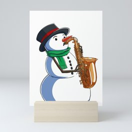 Saxophone Christmas Sax Snowman Holiday Xmas  Mini Art Print