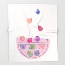 Magic Pears in the Bowl Throw Blanket