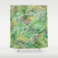 tropical Shower Curtains featuring Tropical Green by Cat Coquillette